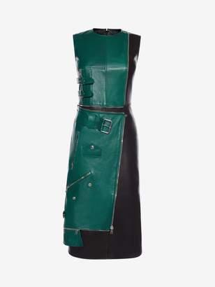 Alexander McQueen Leather Biker Midi Dress