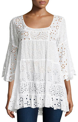 Johnny Was Bell-Sleeve Eyelet Tiered Tunic, Plus Size $300 thestylecure.com