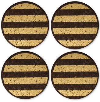 Thirstystone 4-Pc. Metallic-Striped Dark Cork Coaster Set