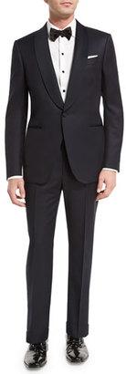 Ermenegildo Zegna Satin Shawl-Collar Two-Piece Tuxedo Suit, Navy $1,482 thestylecure.com