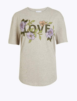 Marks and Spencer Embroidered Love Graphic T-Shirt