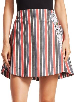 Carven Striped Patch Mini Skirt