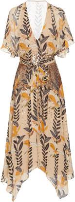Temperley London Bellflower Sequin Detail Chiffon Dress