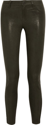 J Brand - L8001 Stretch-leather Skinny Pants - Army green $1,000 thestylecure.com
