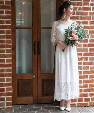 Chaco フォルムフォルマ 【結婚式・ウェディングドレス】troisieme レース×ドットチュール 袖付きロングウェディングドレス