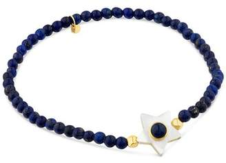Tous 18K Yellow Gold Super Power Lapis & Mother-Of-Pearl Beaded Stretch Bracelet