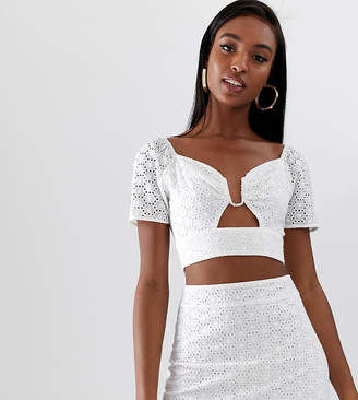 Fashion Union Tall ring front crop top in broderie co-ord