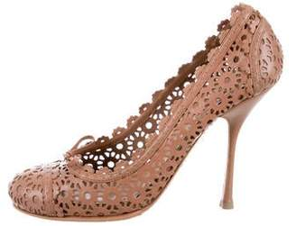 Alaia Perforated Suede Pumps