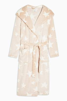 Topshop Womens Nude Star Print Long Dressing Gown - Nude