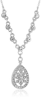 1928 Jewelry Silver-Tone Crystal Filigree Teardrop Adjustable Y-Shaped Necklace