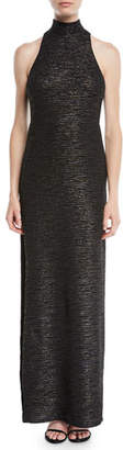 Halston Metallic Knit Gown w/ Mock Neck