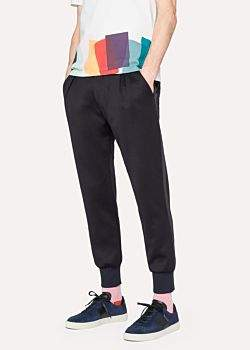 Paul Smith Men's Black Cotton-Blend Jersey Panelled Casual Trousers