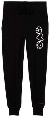 Peace Love World Comfy Pocket Rick Graphic Detail Pants (Little Girls)