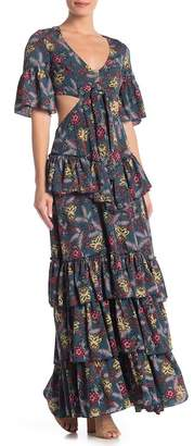 L'Atiste Ruffled V-Neck Maxi Dress