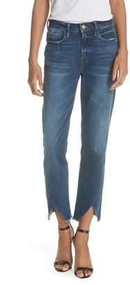 Frame Le High Straight Asymmetrical Hem Jeans