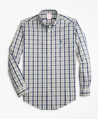 Brooks Brothers Non-Iron Madison Fit Brushed Plaid Sport Shirt