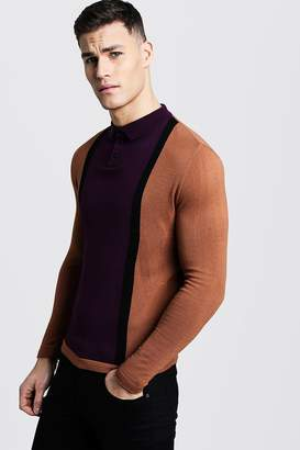 boohoo Long Sleeve Colour Block Knitted Polo