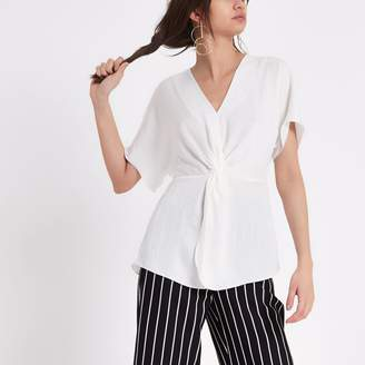 River Island Womens White satin knot front T-shirt
