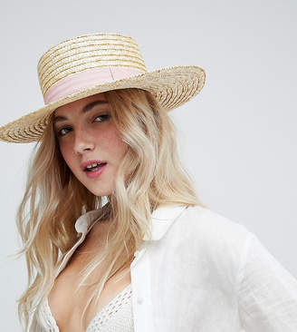 South Beach Straw Boater Hat With Blush Ribbon