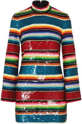Ashish Striped Sequined Cotton Mini Dress - Crimson