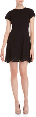 Eliza J Black Eyelet Scalloped Dress