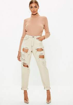 Missguided Cream High Rise Ripped Mom Rigid Jeans