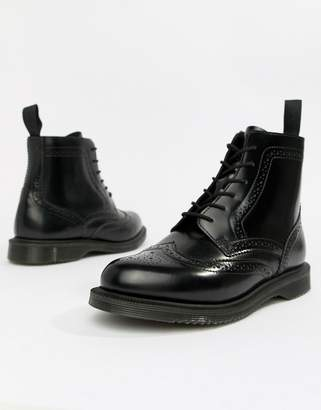 Dr. Martens Delphine Brogue Black Leather Lace Up Flat Ankle Boots
