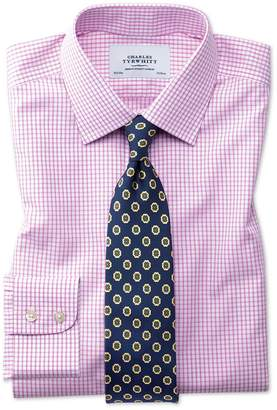 Charles Tyrwhitt Slim Fit Non-Iron Grid Check Pink Cotton Dress Shirt Single Cuff Size 15.5/35