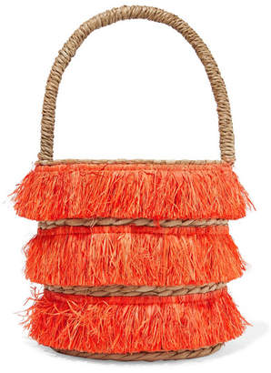 Kayu Lolita Mini Fringed Woven Straw Tote - Papaya
