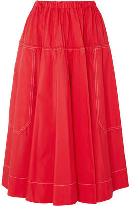 Marni Cotton-poplin Midi Skirt - Red