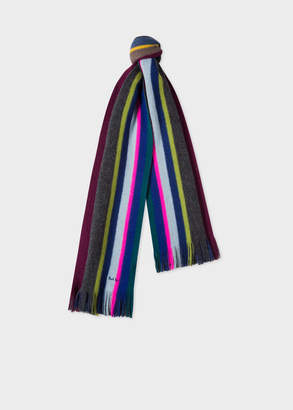 Paul Smith Men's Slate Multi-Coloured Stripe Wool Scarf
