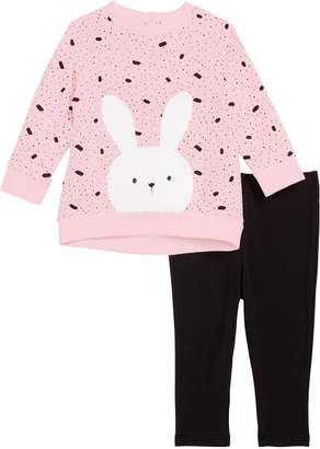 Little Me Bunny Applique Sweatshirt & Leggings Set