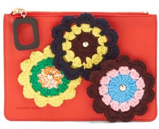 J.W.Anderson Daisies Crochet Leather Pouch - Womens - Red Multi