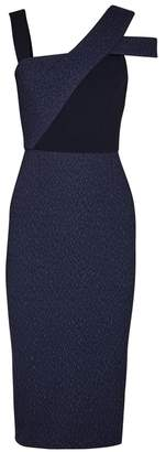 Roland Mouret Elsom Navy Textured Dress