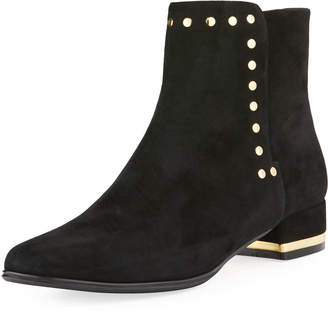 Neiman Marcus Anais Studded Suede Booties