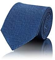 Fairfax Men's Mélange-Weave Silk Necktie - Blue