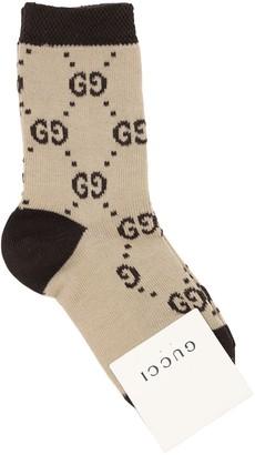 Gucci Gg Supreme Cotton Knit Socks