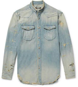 Balmain Slim-Fit Grandad-Collar Distressed Denim Shirt
