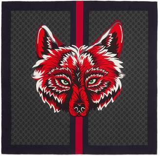 Gucci GG silk carré with wolf