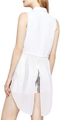 BCBGeneration Sleeveless Chiffon-Hem Button-Front Blouse