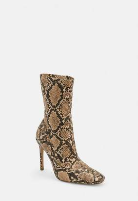 Missguided Nude Snake Print Square Toe Stiletto Heel Boots