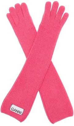 Ganni Rib Knit Wool Blend Gloves - Womens - Pink