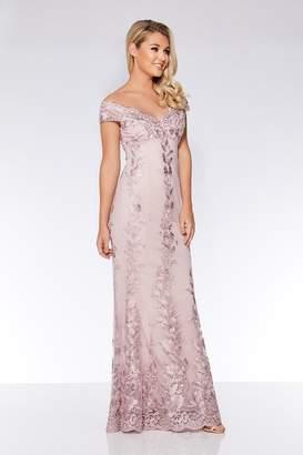 28eddff00686 Quiz Grey Mesh Embroidered Bardot Maxi Dress