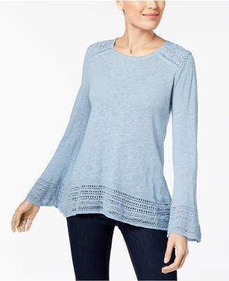 Style&Co. Style & Co Crocheted-Trim Sweater, Created for Macy's