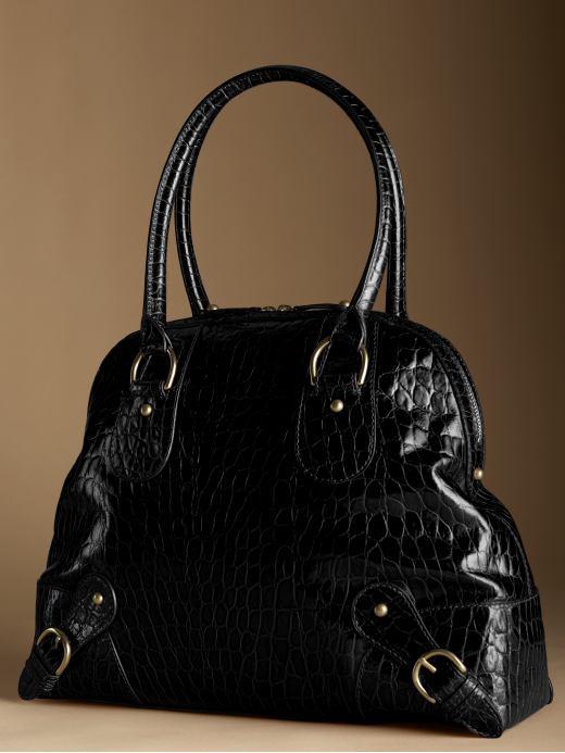 Somerset croc-embossed large satchel - Black croc