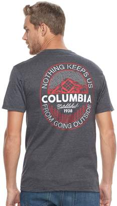 """Columbia Men's Nothing Keeps Us From Going Outside"""" Logo Tee"""