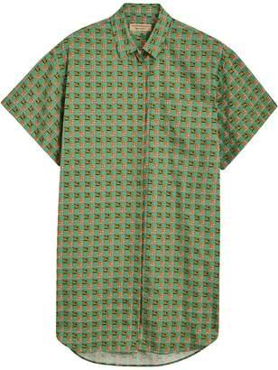Burberry Equestrian Check Print Cotton Longline Shirt