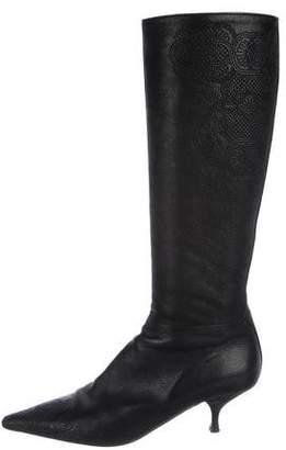 Prada Leather Mid-Heel Boots