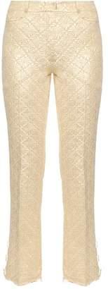 Simone Rocha Diamond flower-jacquard kick-flare trousers
