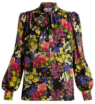 Dolce & Gabbana Floral Printed Silk Blouse - Womens - Black Multi